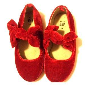 RED VELVET TODDLER BALLET FLATS